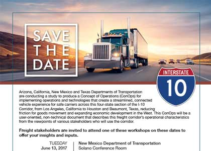 Announcement: I-10 Freight Corridor Workshops