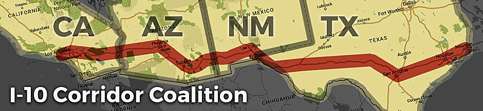 Banner illustrating the I-10 corridor on a map across CA, AZ, NM, and TX.